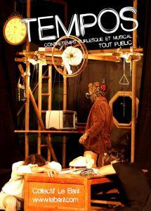 50 min - Tout public – Contretemps burlesque et musical Chacun de nous, enseveli sous une masse de choses à faire, a voulu un jour maîtriser le temps. Et si cela se réalisait? Un spectacle musical et sans paroles où les absurdités de la vie deviennent matière à cuisiner un nouveau monde.