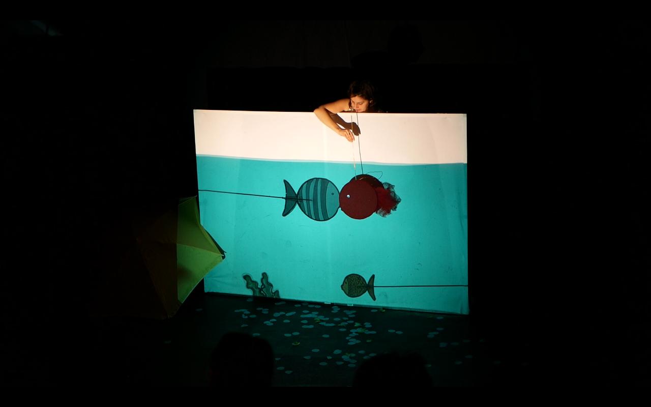Chloé cherche une maison pour son poisson rouge. Grâce au rétroprojecteur, chacune de ses idées peut apparaître instantanément, être colorée et façonnée à sa guise, comme une page blanche qui prend vie.